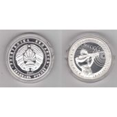 BELARUS –SILVER PROOF 20 ROUBLES COIN 2001 YEAR BIATLON 2002 OLYMPIC GAMES KM#49