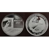 LAOS - SILVER PROOF 50 KIP COIN 1991 YEAR KM#47 USA FIFA WORLD CUP MUNDIAL 1994